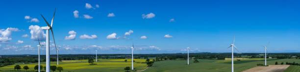 panoramablick auf die luft und nahaufnahme einer windkraftanlage in einem windpark mit rapsfeld - tim siegert stock-fotos und bilder