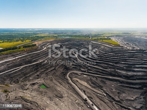 Panoramic aerial view of abandoned coal mine. Canned quarry. Open coal mining, Antarcite mining. Pit on coal mining by open way