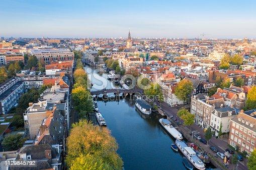 istock Panoramic aerial view of Amsterdam, Netherlands. 1129845792