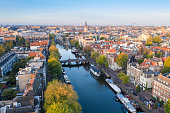 Panoramic aerial view of Amsterdam, Netherlands.