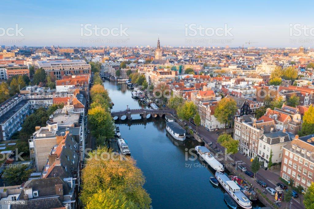 Panoramic aerial view of Amsterdam, Netherlands. stock photo