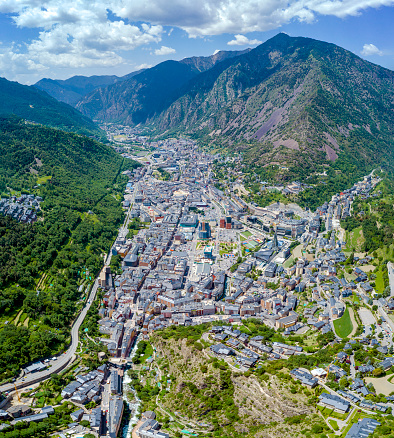 Panoramic aerial view of Andorra la Vieja located in the Pyrenees, at 1022 meters, it is the capital of the State at the highest altitude above sea level in all of Europe