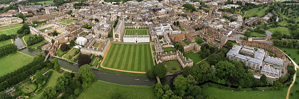 panoramic aerial view of cambridge university - cambridge university stock photos and pictures