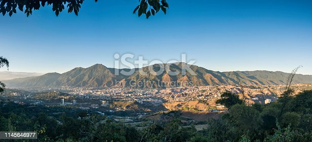 Caracas panoramic on a sunny day, you can see the Avila Mountain and the city at its foot as well as the surrounding hills