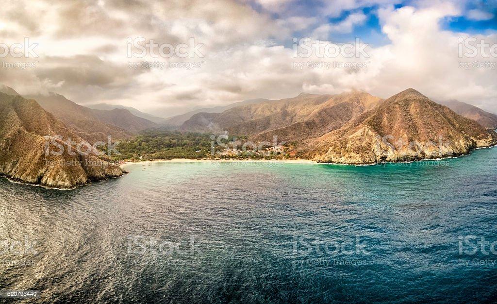 Panoramic aerial view of Chuao bay, Caribbean Sea Venezuela stock photo