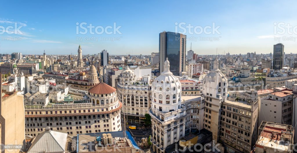 Panoramic aerial view of Downtown Argentina - Buenos Aires, Argentina stock photo