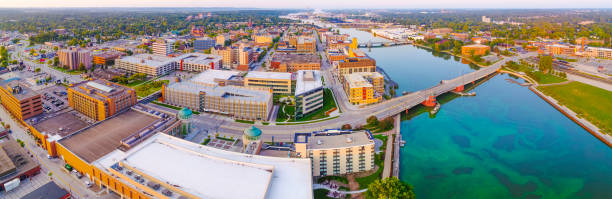 panoramic aerial view of downtown green bay, wisconsin, fox river - green bay wisconsin stock photos and pictures