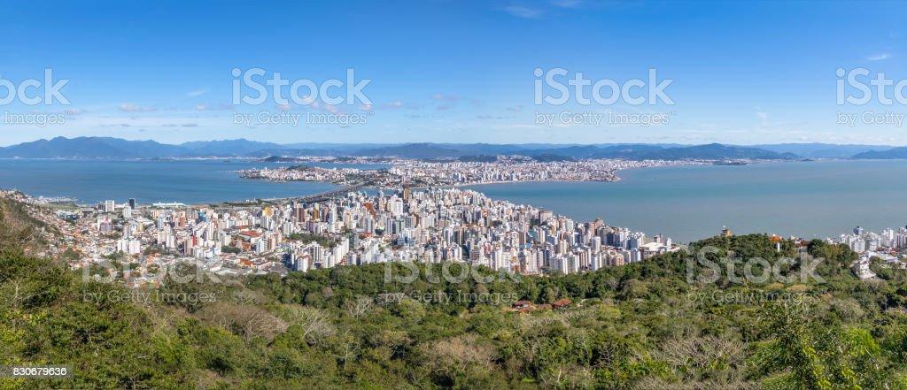 Panoramic Aerial view of Dowtown Florianopolis City - Florianopolis, Santa Catarina, Brazia stock photo