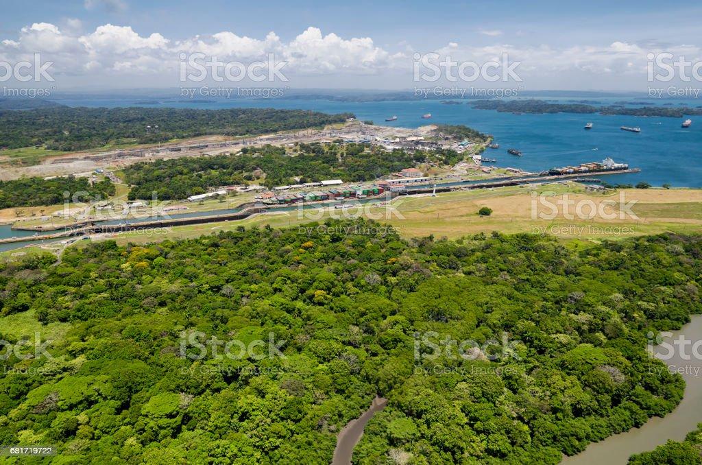 Panoramic aerial view of Gatun Locks with cargo ships passing through, Panama Canal stock photo