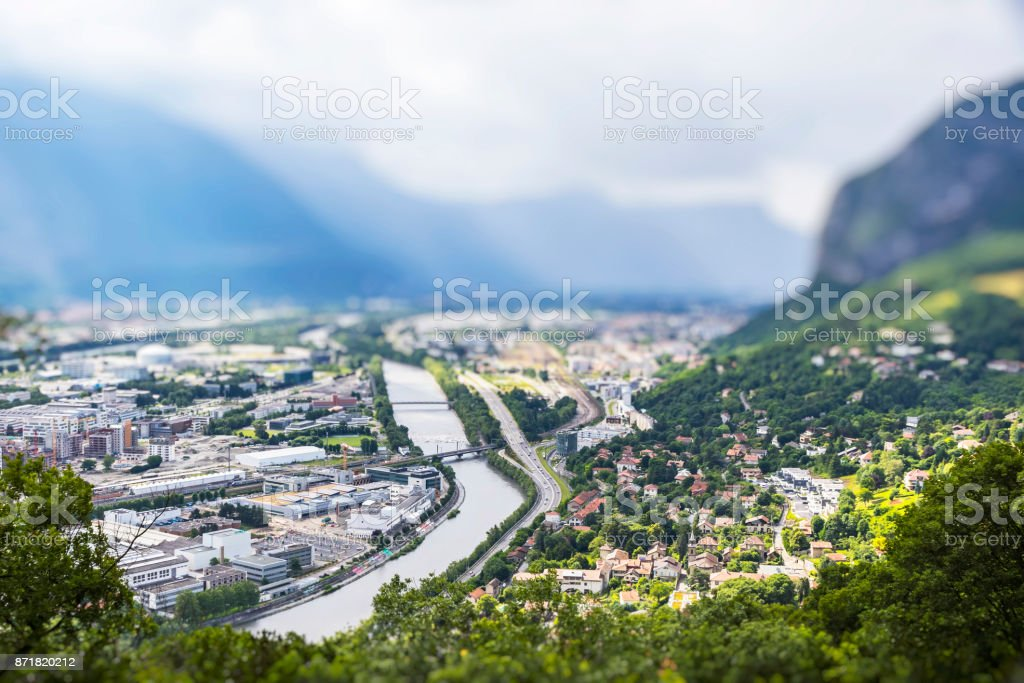 Panoramic aerial view of Grenoble city, France stock photo
