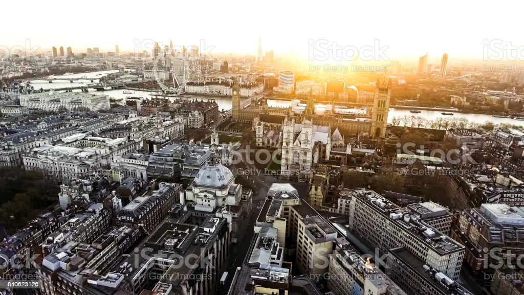 Panoramic Aerial View of Houses of Parliament Big Ben Icon in London stock photo