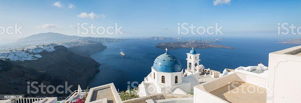 Panoramic aerial view of Imerovigli church in Santorini in Greece stock photo