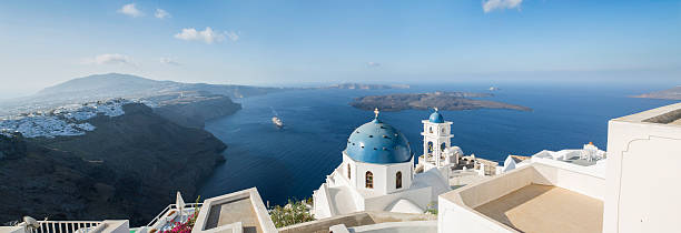 panoramic aerial view of imerovigli church in santorini in greece - caldera bildbanksfoton och bilder