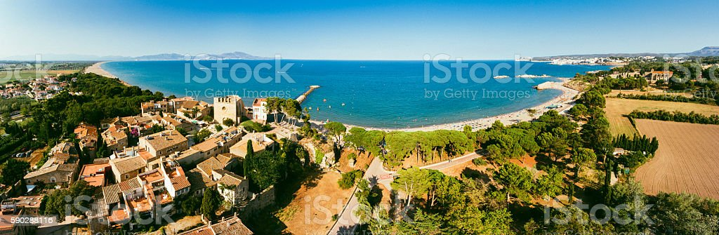 Panoramic Aerial View of La Costa Brava stock photo