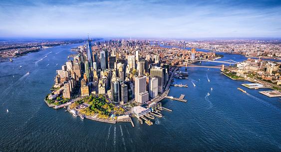 Panoramic aerial view of Lower Manhattan at sunset. New York. USA