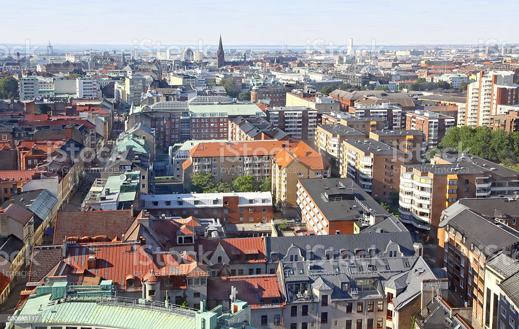 Panoramic aerial view of Malmo, Sweden stock photo