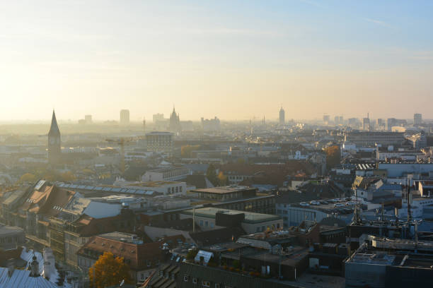 Panoramic aerial view of Munich old town, skyline of Bavarian city, Germany stock photo