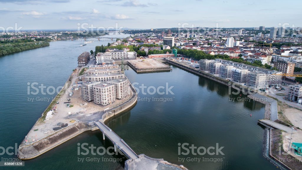 Panoramic aerial view of new district Zollhafen in Mainz, Germany stock photo