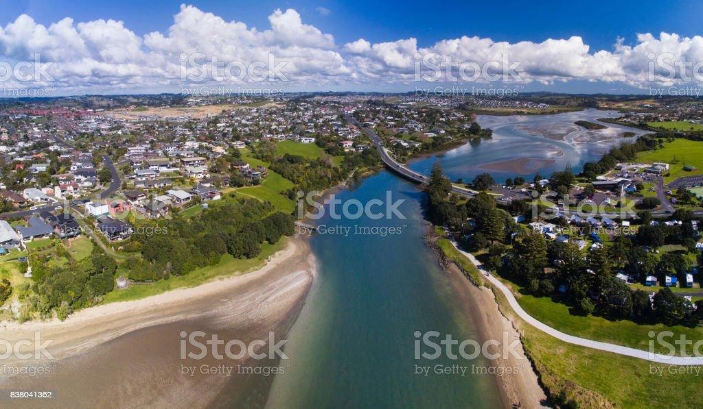Panoramic Aerial View Of Orewa Beach. stock photo