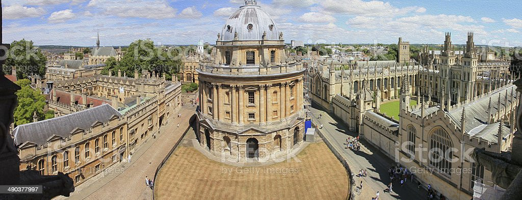 panoramic, aerial view of oxford, oil paint stylization stock photo