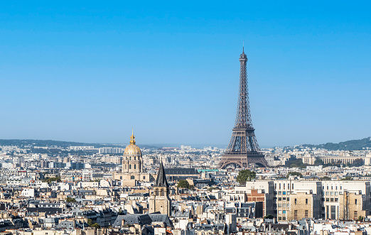 Panoramic aerial view of Paris from the Tower of the Cathedral of Notre Dame with the Eiffel Tower in background