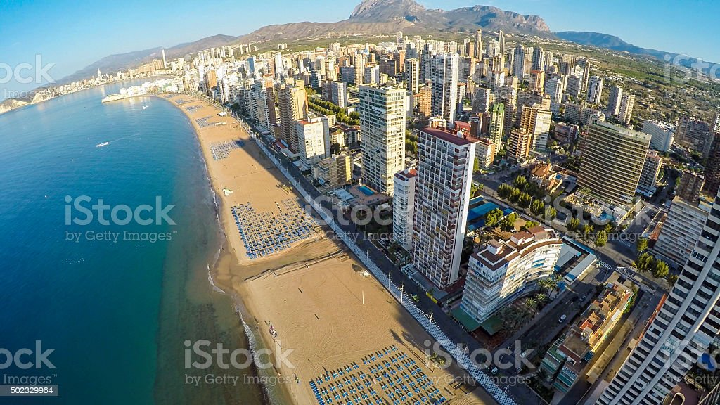 Panoramic aerial view of Playa de Levante, Benidorm blue sky stock photo