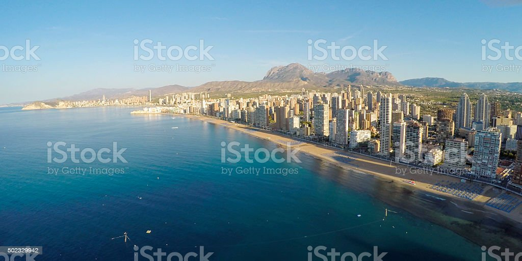 Panoramic aerial view of Playa de Levante, Benidorm   - STUNNING stock photo