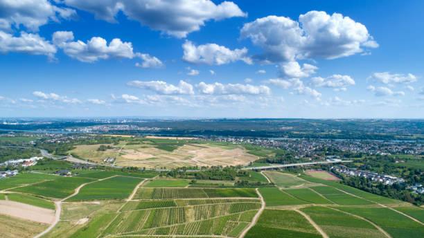 Panoramic aerial view of Rheingau Taunus area, Germany stock photo