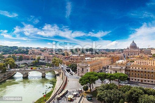 Panoramic aerial view of Rome