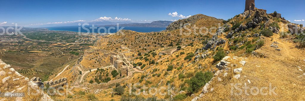 Panoramic aerial view of rural landscape in Greece foto royalty-free