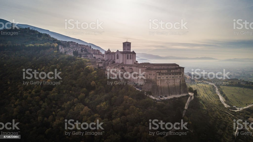 Panoramic aerial view of Saint Francis Basilica, Assisi, Italy stock photo