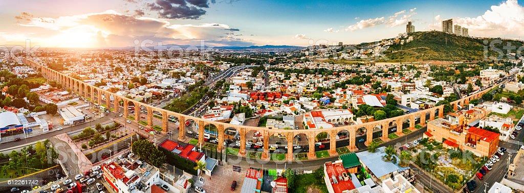 Panoramic Aerial View of Santiago de Queretaro Mexico stock photo