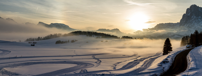 istock Panoramic aerial view of Seiser Alm at sunrise 959836908