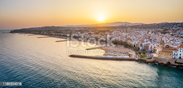 istock Panoramic aerial view of Sitges at sunset. Catalonia. Spain 1165334016