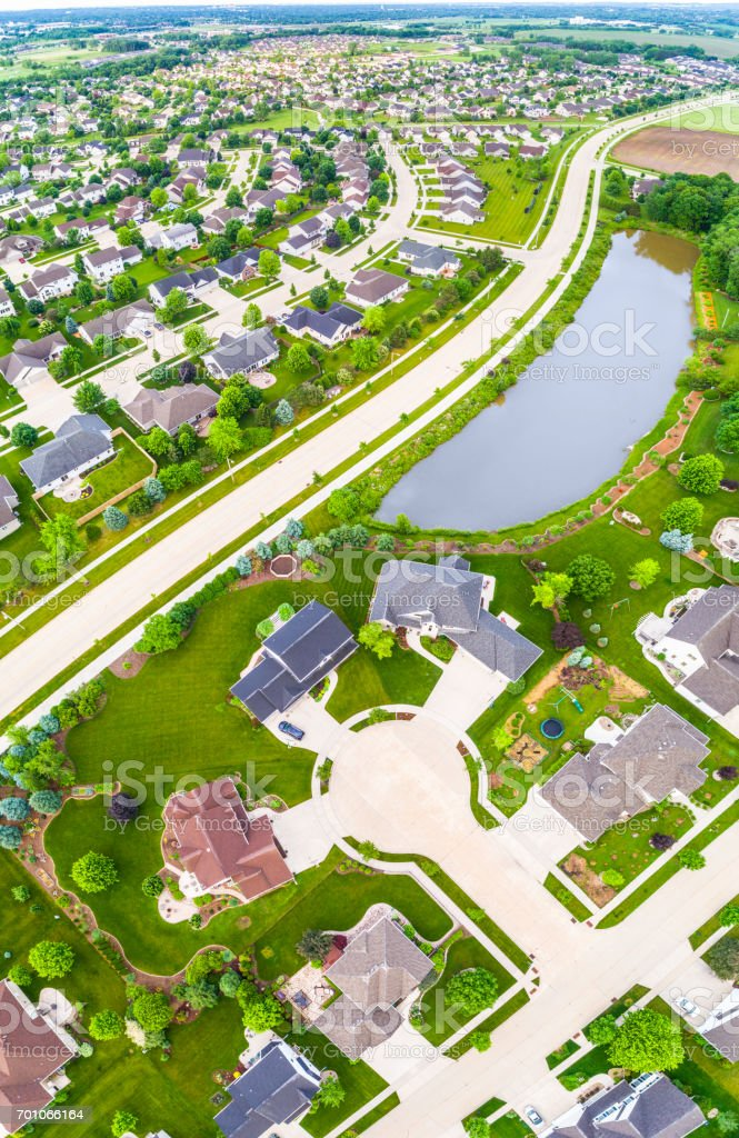 Panoramic aerial view of stunning suburban neighborhoods stock photo