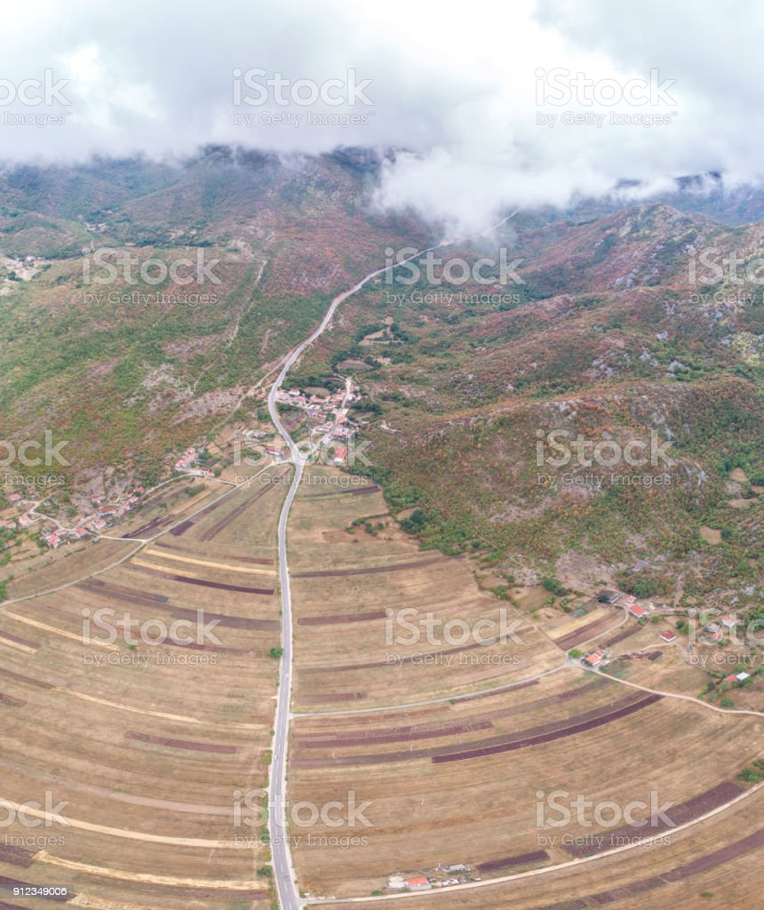 Panoramic aerial view of the fields in the vicinity of the village of Grab. stock photo