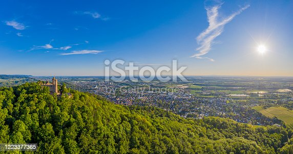defaultPanoramic aerial view of the German town Bensheim in summer