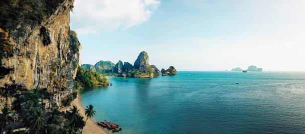 Panoramic aerial view of the Railay beach, Krabi province, Thailand stock photo