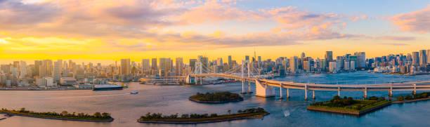 Panorama-Luftbild der Skyline tokio mit Regenbogenbrücke und Tokyo Tower über Tokyo Bucht tagsüber von Odaiba in Tokyo Stadt Kanto Japan. – Foto