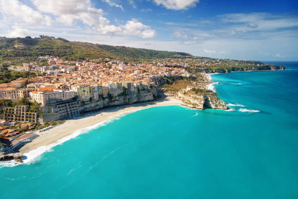 Panoramic Aerial view of Tropea. Italy stock photo