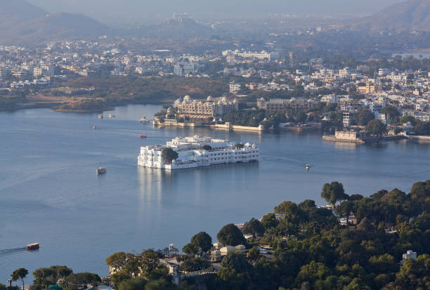Panoramic aerial view of Udaipur City and Pichola lake in Rajasthan, India Panoramic aerial view of Udaipur City and Pichola lake in Rajasthan state of India lake pichola stock pictures, royalty-free photos & images