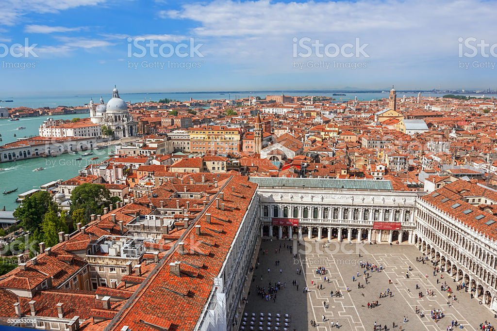 Panoramic aerial view of Venice from San Marco Campanile. stock photo
