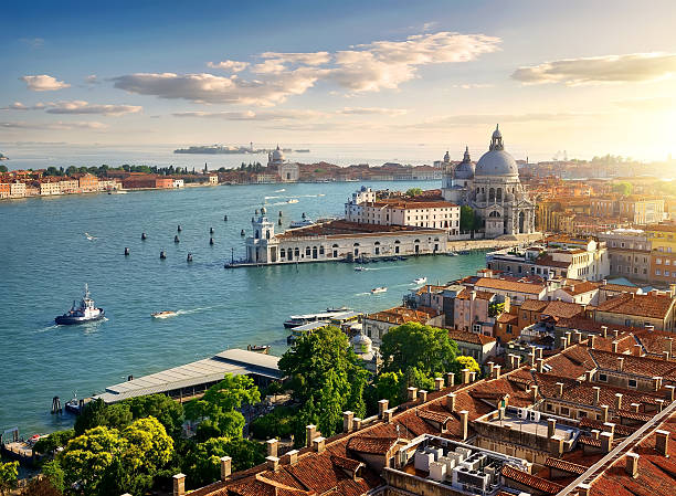 panoramic aerial view of venice - della stock pictures, royalty-free photos & images
