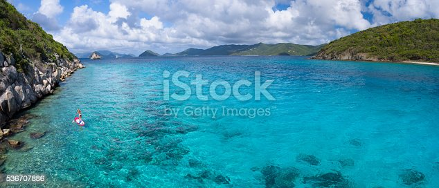 544966382istockphoto Panoramic aerial view of woman on paddleboard 536707886