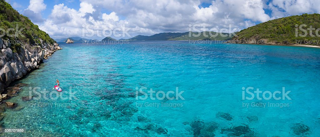 Panoramic aerial view of woman on paddleboard stock photo