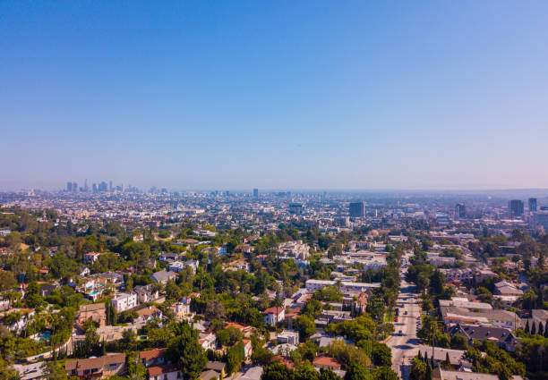 Panoramic aerial view on the Los angeles from above Panoramic aerial view on the Los Angeles from above. Clear blue sky. westwood neighborhood los angeles stock pictures, royalty-free photos & images
