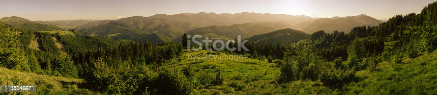Beautiful panorama of covered with forests mountain ranges