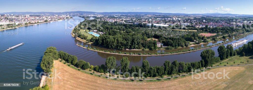 Panoramic aerial view over rivers Rhine and Main and Mainz stock photo