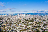 A panoramic aerial view of the city of San Francisco. Residential districts to the Skyscrapers downtown with a view of the San Francisco Bay behind the city. Bright blue sky day.