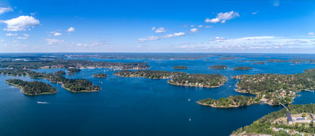 Panoramic aerial view over Stockholm archipelago stock photo